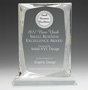 Soleil NYC Design 2017 New York Small Business Excellence Award for Graphic Design