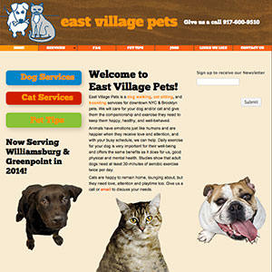 web design for East Village Pets