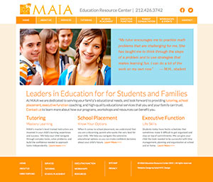 web design for MAIA Education for tutoring and school placement